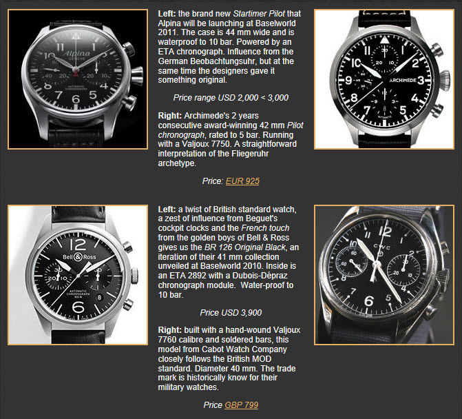 XXI flieger chronographs
