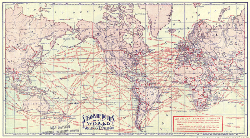 Steamship routes of the world circa 1900, Creative Commons Princeton University
