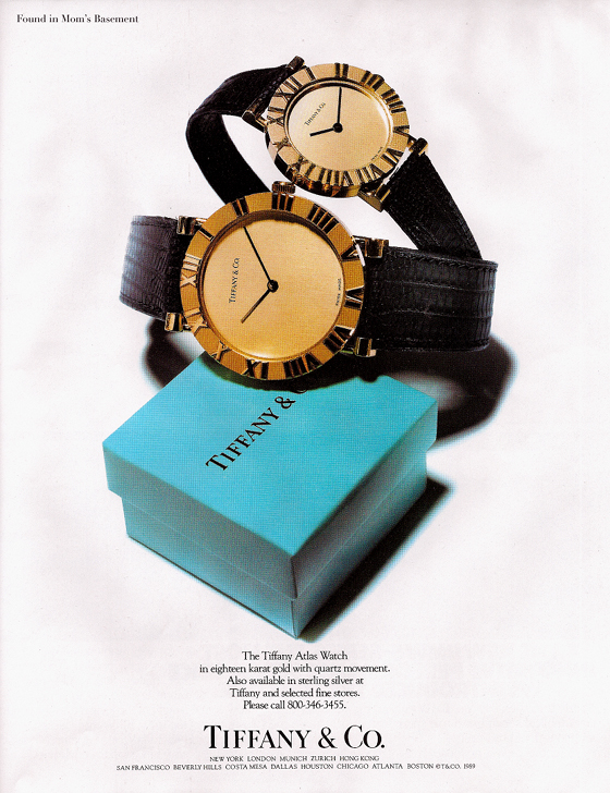 1989 ad for Tiffany watches, credit Found in Mom's Basement