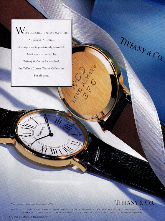 Vintage Ad: Tiffany watch, 1993, credit Found in Mom's Basement