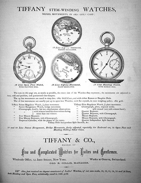 Full page Ad: Tiffany & Co., Makers of Fine & Complicated Watches for Ladies and Gentlemen, New York, credit Jackrabbit